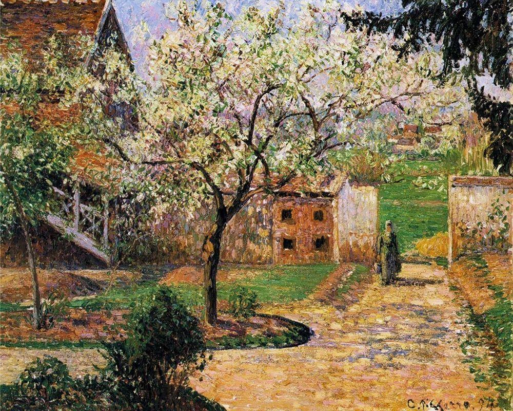 konfigurieren des Kunstdrucks in Wunschgröße Plum Trees in Blossom, Eragny von Pissarro, Camille