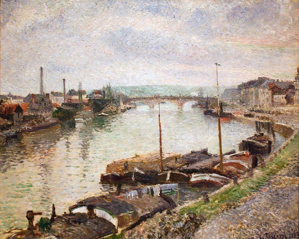 konfigurieren des Kunstdrucks in Wunschgröße The Stone Bridge and Barges at Rouen von Pissarro, Camille