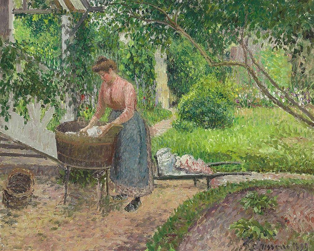 konfigurieren des Kunstdrucks in Wunschgröße Washer in the garden, Eragny von Pissarro, Camille