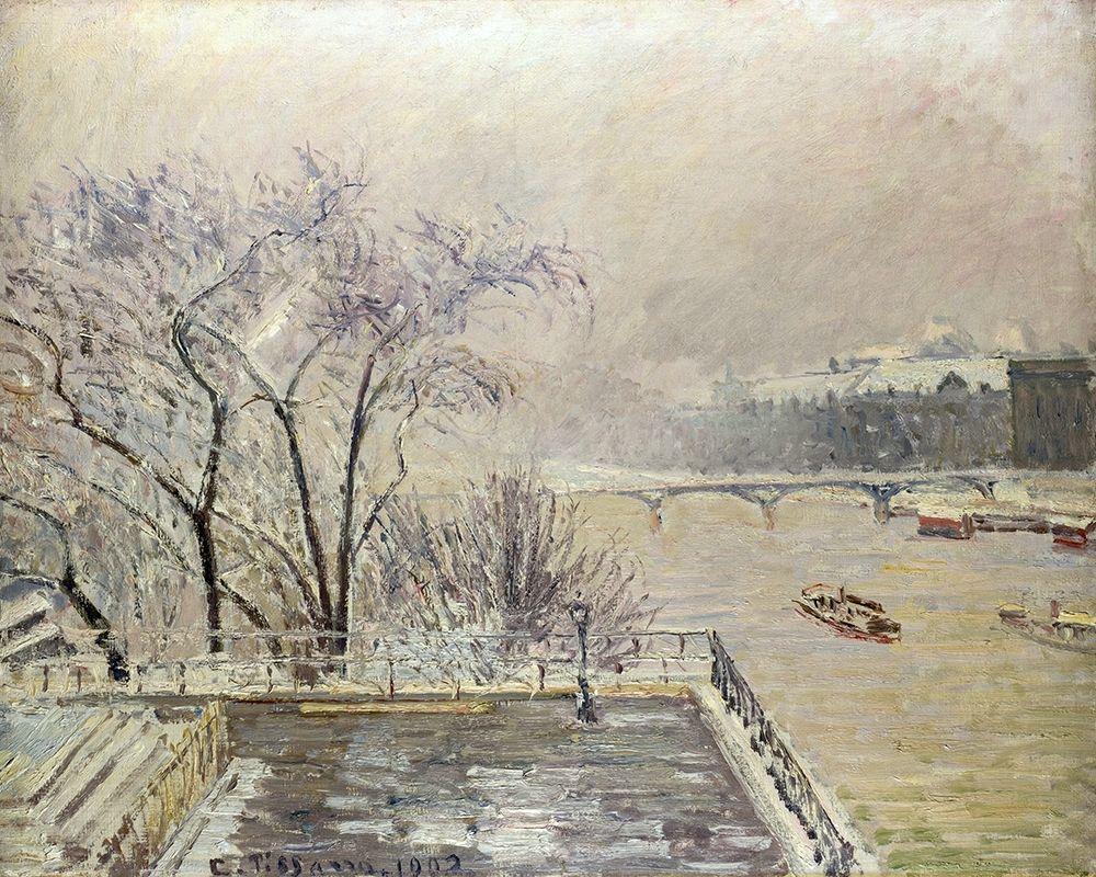 konfigurieren des Kunstdrucks in Wunschgröße The Louvre under Snow von Pissarro, Camille