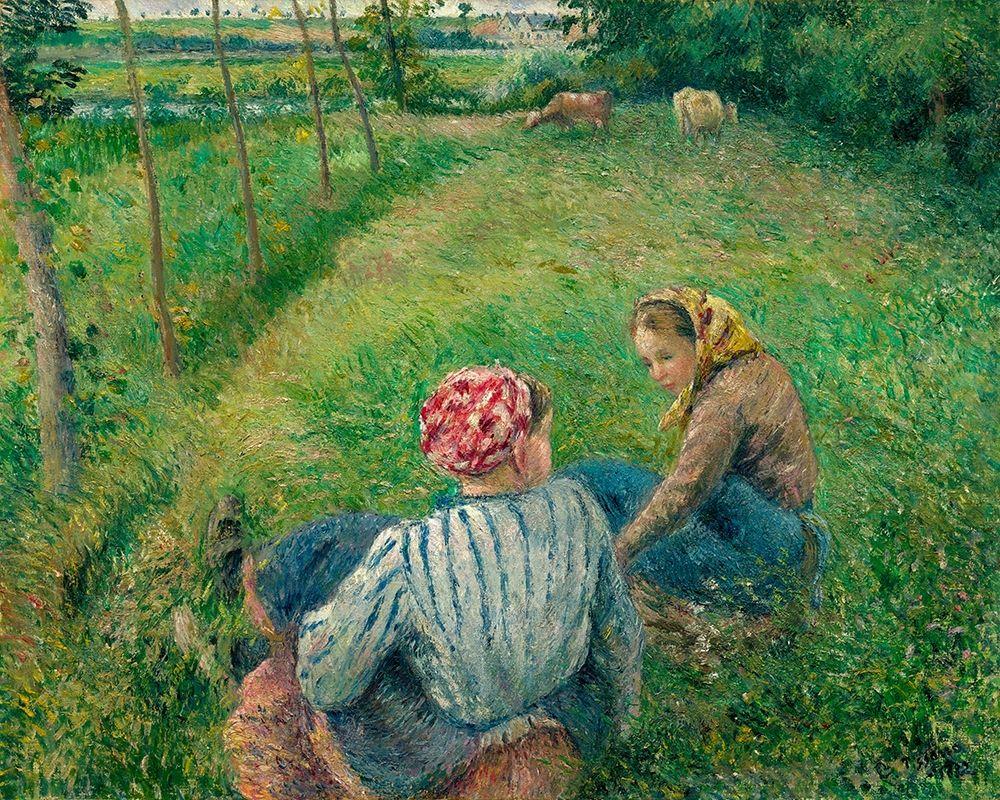 konfigurieren des Kunstdrucks in Wunschgröße Young Peasant Girls Resting in the Fields near Pontoise von Pissarro, Camille