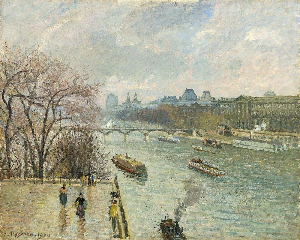 konfigurieren des Kunstdrucks in Wunschgröße The Louvre, Afternoon, Rainy Weather von Pissarro, Camille