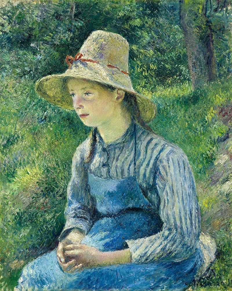 konfigurieren des Kunstdrucks in Wunschgröße Peasant Girl with a Straw Hat von Pissarro, Camille