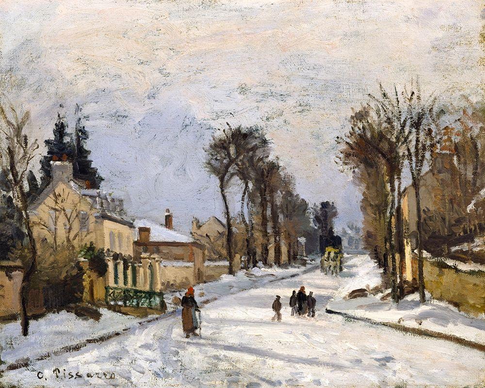 konfigurieren des Kunstdrucks in Wunschgröße Road to Versailles at Louveciennes. The Snow Effect von Pissarro, Camille