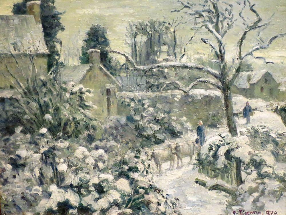 konfigurieren des Kunstdrucks in Wunschgröße Snowscape with Cows at Montfoucault von Pissarro, Camille