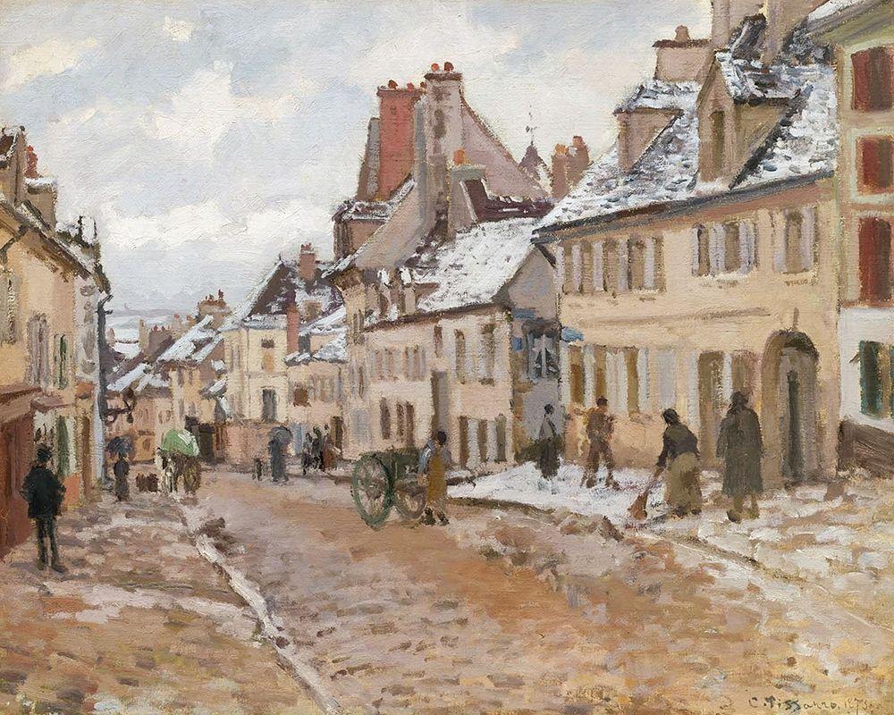 konfigurieren des Kunstdrucks in Wunschgröße Pontoise, the Road to Gisors in Winter von Pissarro, Camille