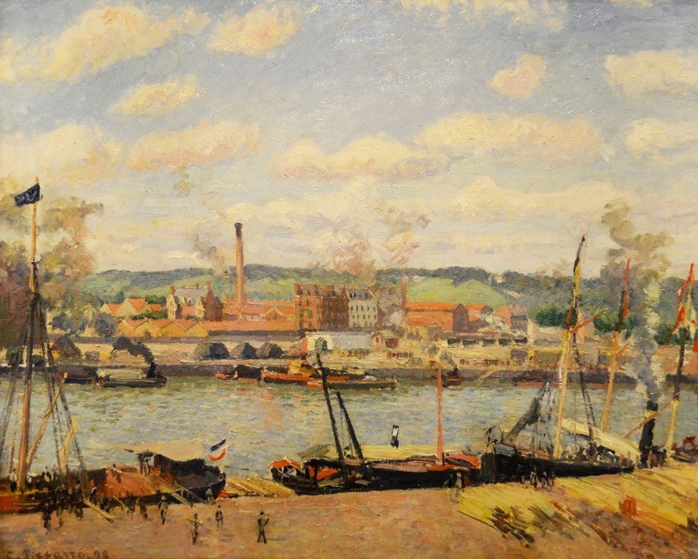 konfigurieren des Kunstdrucks in Wunschgröße View on the cotton mill of Oiseel near Rouen von Pissarro, Camille
