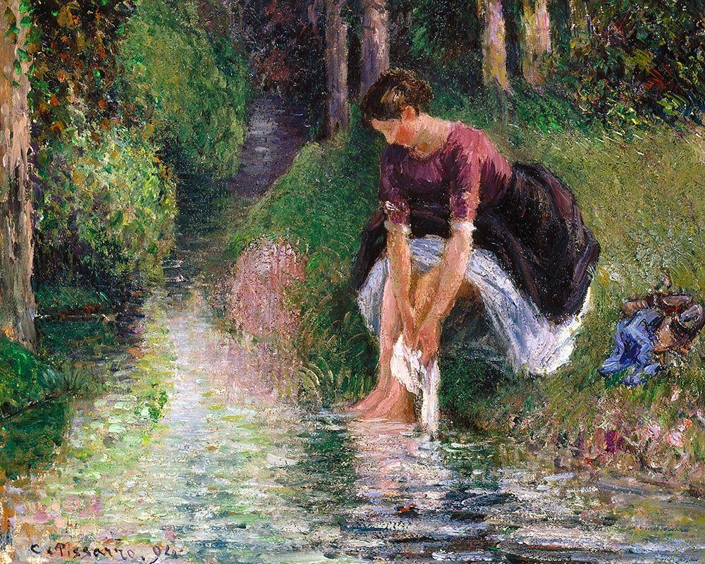 konfigurieren des Kunstdrucks in Wunschgröße Woman Washing Her Feet in a Brook von Pissarro, Camille
