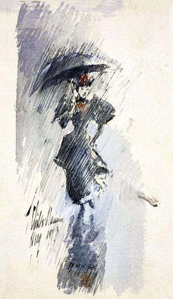konfigurieren des Kunstdrucks in Wunschgröße Woman with Umbrella von Hassam, Childe