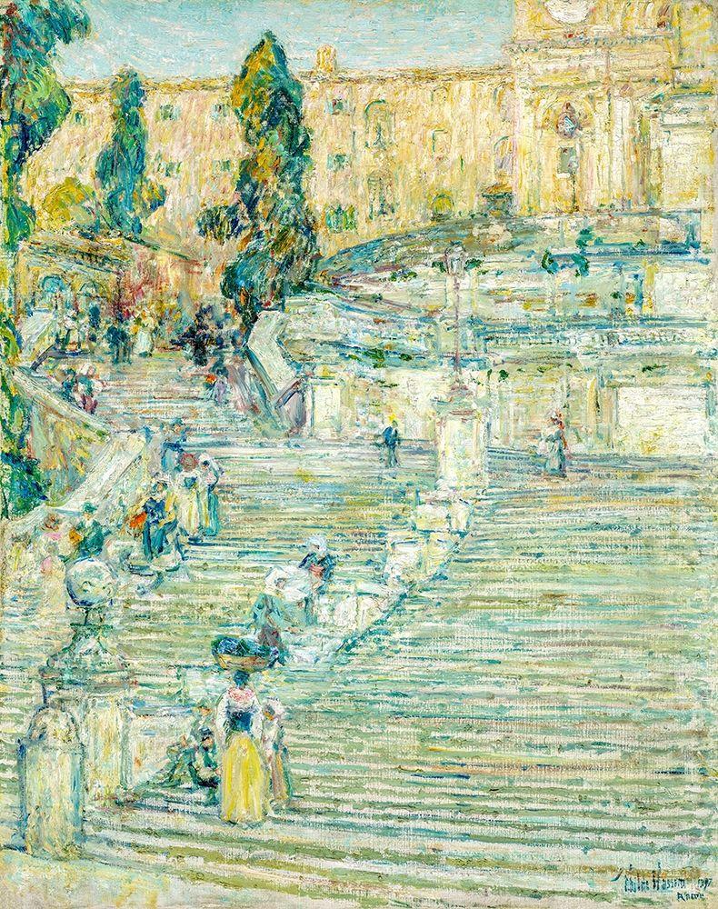 konfigurieren des Kunstdrucks in Wunschgröße The Spanish Stairs-Rome von Hassam, Childe