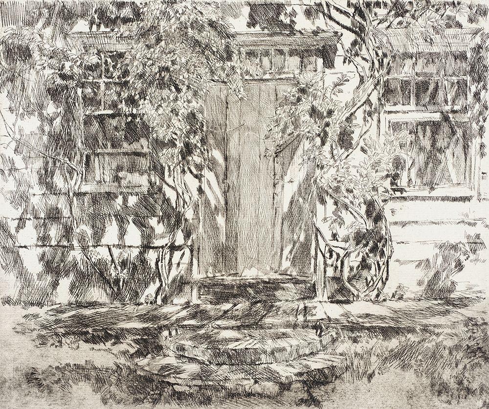 konfigurieren des Kunstdrucks in Wunschgröße Old Doorway-Easthampton von Hassam, Childe