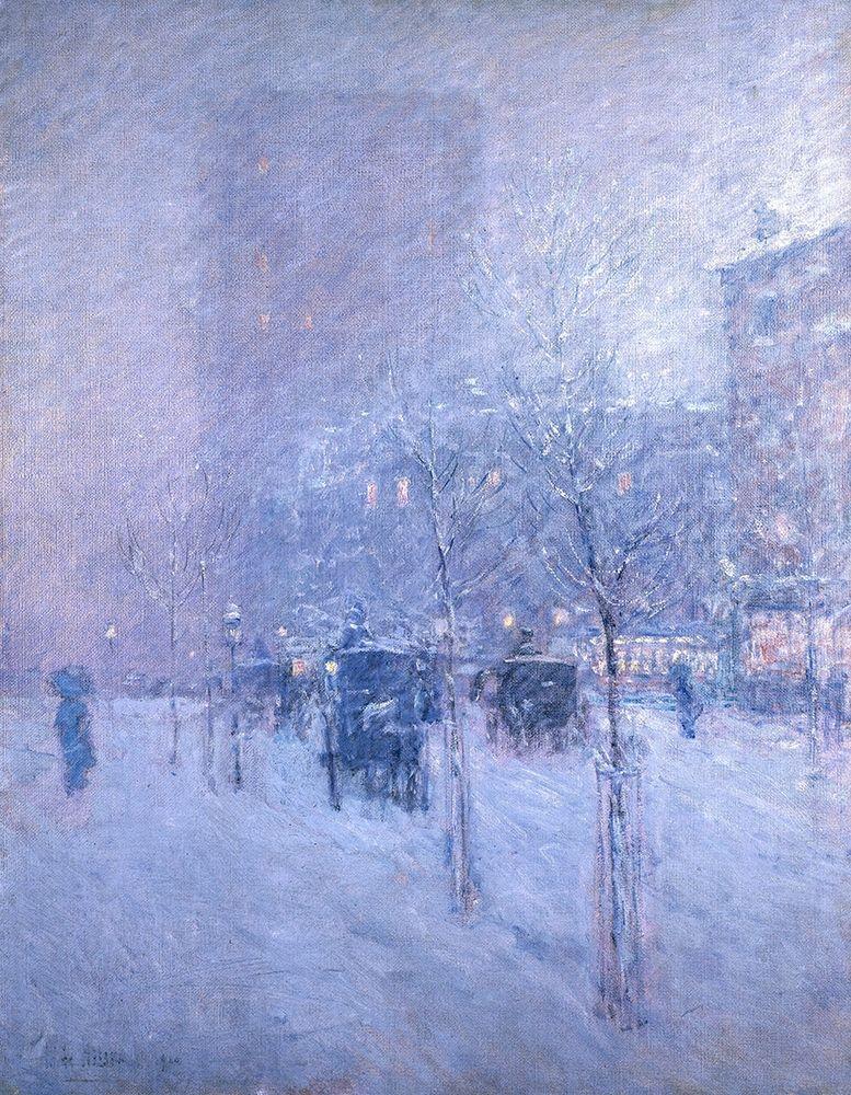 konfigurieren des Kunstdrucks in Wunschgröße Late Afternoon-New York-Winter von Hassam, Childe