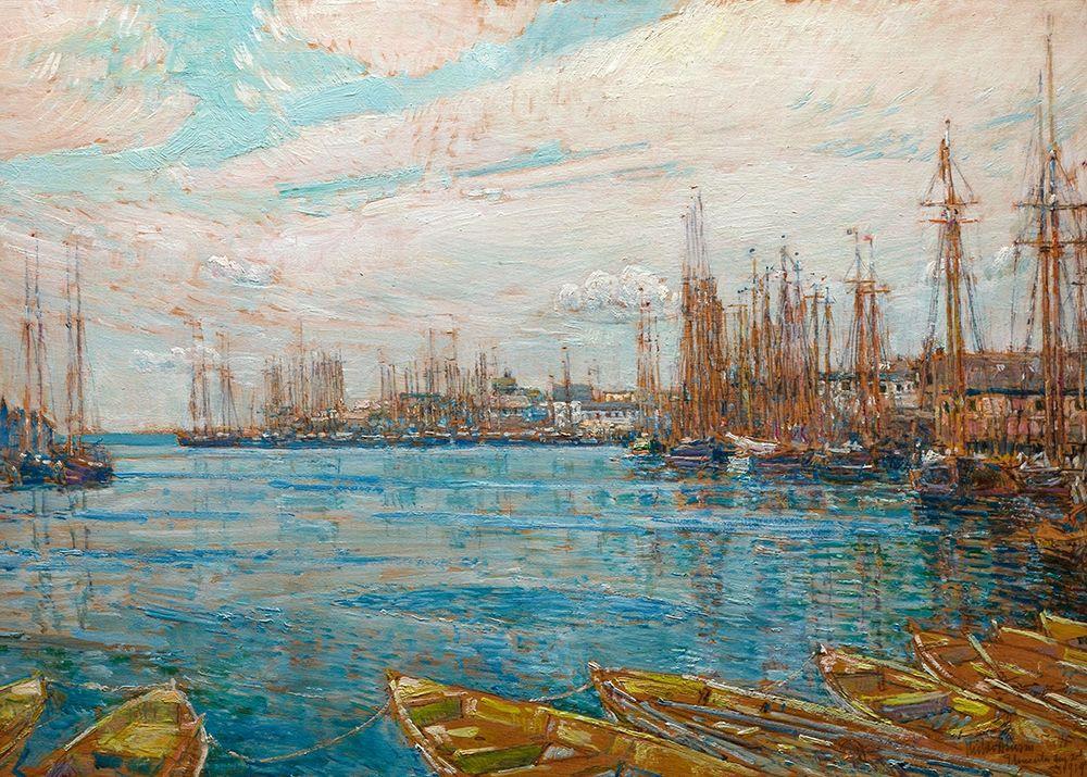 konfigurieren des Kunstdrucks in Wunschgröße Harbor of a Thousand Masts von Hassam, Childe