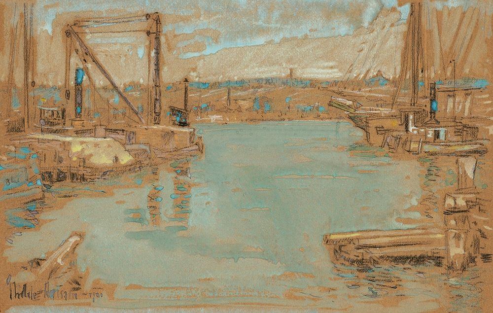 konfigurieren des Kunstdrucks in Wunschgröße North River Dock-New York von Hassam, Childe