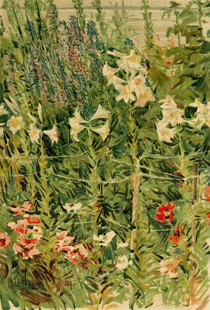 konfigurieren des Kunstdrucks in Wunschgröße Larkspurs and Lilies von Hassam, Childe