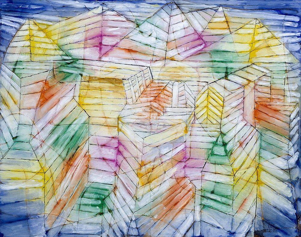 konfigurieren des Kunstdrucks in Wunschgröße Theater Mountain Construction von Klee, Paul