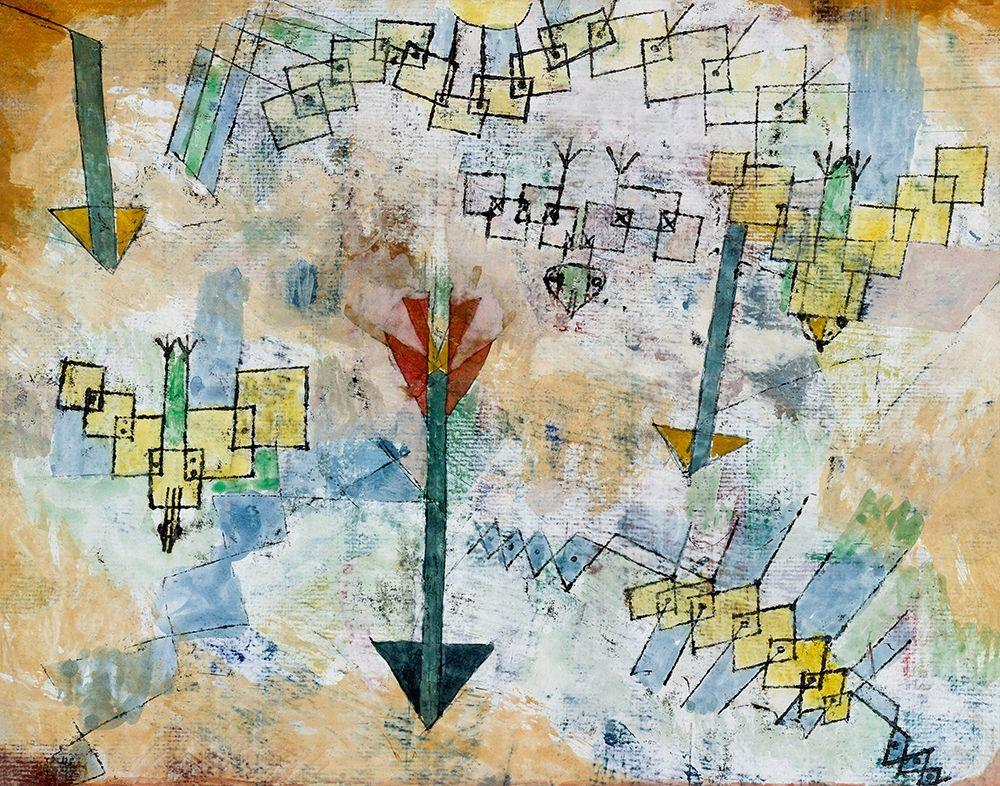 konfigurieren des Kunstdrucks in Wunschgröße Birds Swooping Down and Arrows von Klee, Paul
